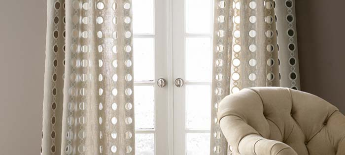 Beige Linen Curtains in Saratoga Springs showroom
