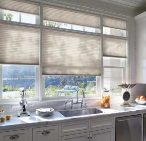 Hunter Douglas honeycomb window shades in the kitchen